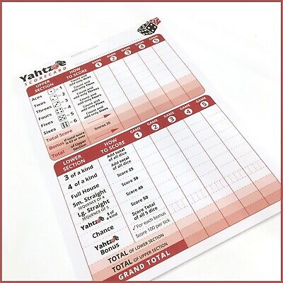 Yahtzee Score Pad - Score Cards - 125 Games -  Refills Sheets Scorecards • 3.49£