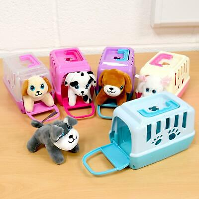 Girls Soft Plush Puppy Cute Cuddle Dog Play Toy Plastic Pet Carrier Case Gift • 8.65£