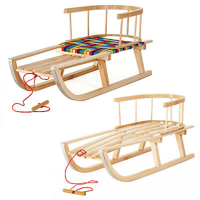 Kids Snow Sledge Wooden Sled Detachable Backrest Beech Steel Wood 2 Types UK  • 38.91£