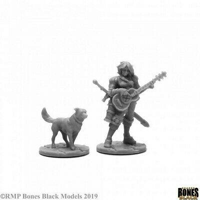 Reaper Miniatures - 44114 - Isobael The Bard And Rufus - Bones Black • 5.79£