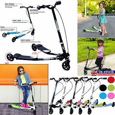 Kids 3 Wheels Speeder Kick Scooter Tri Slider Winged Push Motion Ride Children • 41.59£