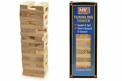 54  Pieces Wooden Tumbling Tower Traditional Stack Jenga Kids Family Party Game  • 7.84£