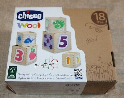 Chicco Italian Design Wood Set Of 5 Stacking Blocks - New In Original Box • 12.99£