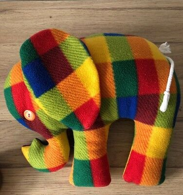 "Large Handmade Patchwork Elephant - 13"" Soft Toy / Cushion - Vgc • 6.95£"