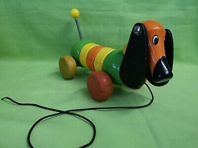 Vintage French Wooden Vilac Dachshund Pull Along Toy  • 20£