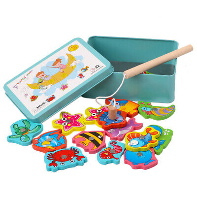 15pcs Wooden Magnetic Fishing Toy Game Educational Fishing Toy Set For Kid Nice • 3.52£