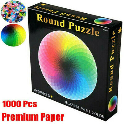 Jigsaw Puzzle 1000 Pieces Colorful Rainbow Round Educational Puzzle Adult Toy CB • 10.99£