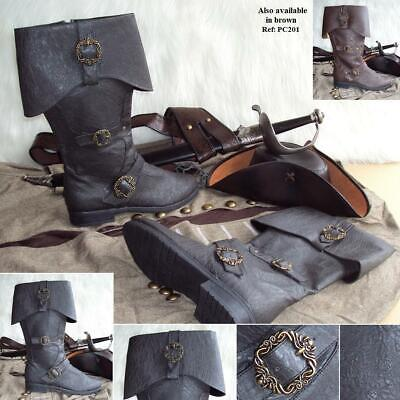 Caribbean Pirate Distressed Leather Look Boots. Ideal For Costume, Or LARP • 84£