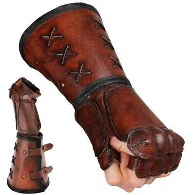 Quality Leather Gauntlet - Left Hand - Brown. Stage Costume & LARP • 46.50£
