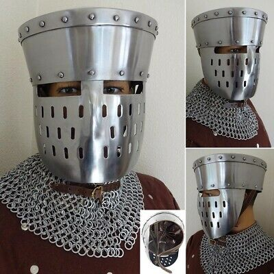 Medieval Kalota Helmet With Face Guard Ideal For Costume Or LARP • 102£