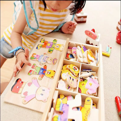 Wooden Baby Bear Changing Clothes Puzzle Set Child Kids Educational Toys Gift • 8.39£