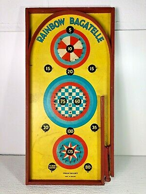Vintage Rainbow Bagatelle Wooden Game - Made In England • 32£