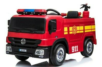 FIRE ENGINE ELECTRIC RIDE ON CAR 12v, With Accessories, LED Lights & Siren,  • 229.99£
