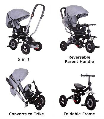 Little Bambino 5 IN 1 Tricycle Stroller Kids Children Baby Toddlers Trike - Grey • 89.99£
