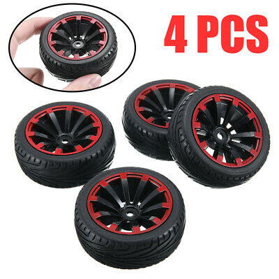 4x Flat Running Tyre Rubber Wheel RC Car Part Fit For 1/10 HSP HPI Redcat UK • 9.99£