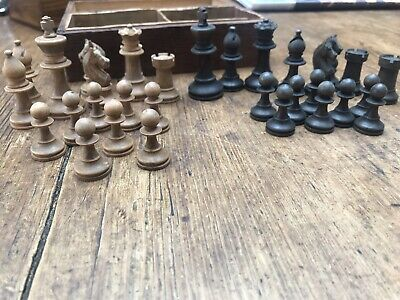 Nice Old Small  Chess Set Oak Box Complete • 10£