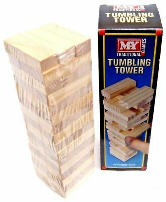 Traditional Wooden Stacking Tumbling Tower Game Like Jenga Kid Family Board Mini • 4.95£