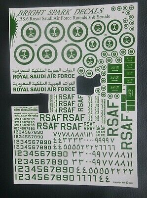 Bright Spark Decals Royal Saudi Airforce Roundels And Serials 1/72 • 3.95£