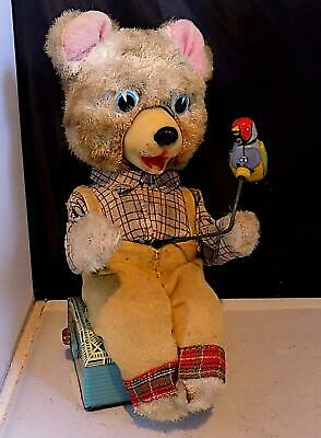 Vintage Rare Tin Battery-Operated Jolly Bear Wt Robin Toy, Modern Toys Japan AF • 95£