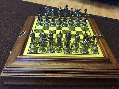 Vintage Brass / Pewter Napoleon Chess Set With Chess Board And Storage Box. • 159£