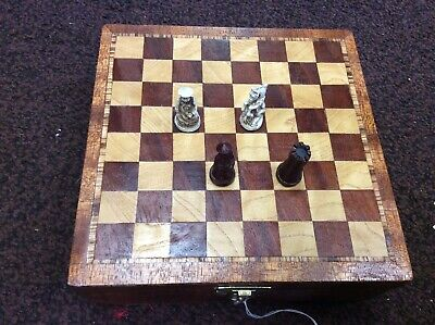 Vintage Small Chinese Chess Set With Handmade Chess Board And Storage Box. • 75£