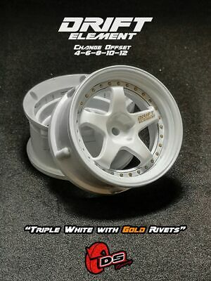 DS Racing Drift Elements Changeable Offset Wheels/Rims - White - 1/10 RC DRIFT • 11.49£