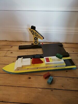 Retro / Vintage Boat And Crane Wooden Toy - Waldorf / Montessori / MamaOwl • 35£