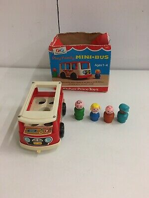 1972 Fisher Price Play Family Minibus With Figures • 7£