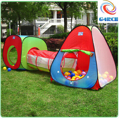 3pcs Pop Up Tent Toddlers Crawl Tunnel Baby Playhouse Ball Pit Kids Play Tent UK • 16.99£
