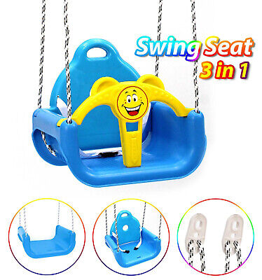 Toddlers Children Swing Seat 3 In 1 Detachable Outdoor Hanging Seat Toys Blue • 19.85£
