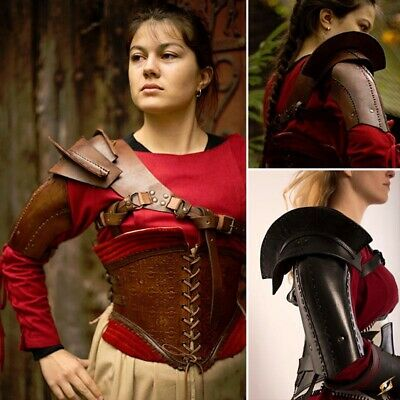 Quality Leather Shoulder Guard / Armour. For Stage Costume & LARP. 2 Colours • 72£