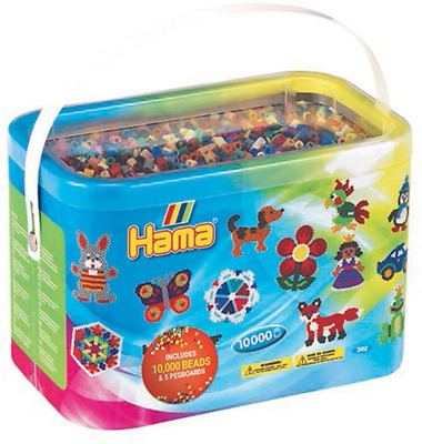Hama Beads 10,000 Beads And 5 Pegboards Tub • 19.10£