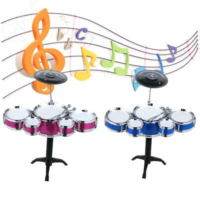 Girls Boys Children Kids Mini Jazz Drum Band Rock Music Play Set Kit Stool • 7.39£