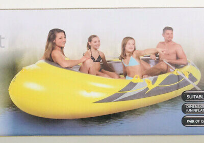 Beach Inflatable Family Boat - 260kg + 1 Pair Of Alu Paddles - 3 Adults • 39.99£
