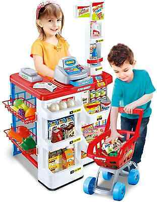 Kids Supermarket Shop Grocery Pretend Toy Trolley Play Set Light Sound Play Gift • 29.99£