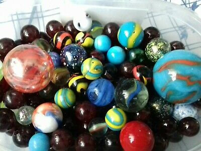 Job Lot Of Various Size & Designed Marbles Approx 1.4 KG (Largely Glass & China) • 15£