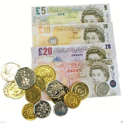 Play Money Set Pretend Sterling Notes Coins Pound Cash Shop Role Table Game Toy • 1.99£