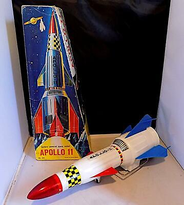 Vintage Plastic Battery-Operated Apollo 11 Space Rocket, T Co, Hong Kong. AFiB • 10.50£