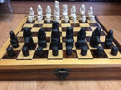 Large Isle Of Lewis Chess Set With NEW Handmade Box / Chess Board • 99£