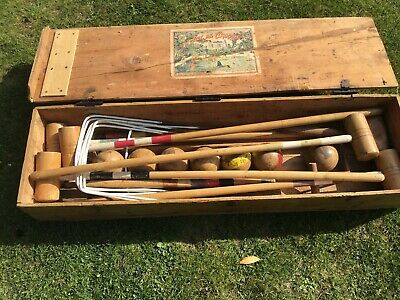 Antique Croquet Set In Wooden Box. • 50£