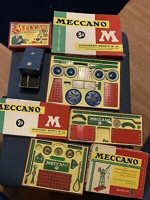 Vintage Boxes Meccano Sets 0, 2A, 3A Plus Oroginal Meccano Clockwork Motor • 22.21£