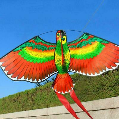 3D Parrot Kite Kids Toy Fun Outdoor Flying Activity Game Children Gift With Tail • 5£
