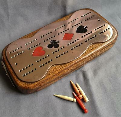 Antique / Vintage COPPER On OAK Wooden Cribbage CRIB BOARD Defined Suits & Pegs • 25£
