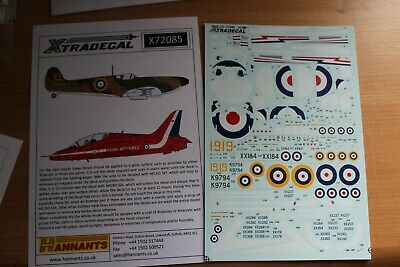 XTRADECAL/HANNATS  Decals For BAE Hawk T1 & Spitfire Mk 1 1/72 Scale • 4£
