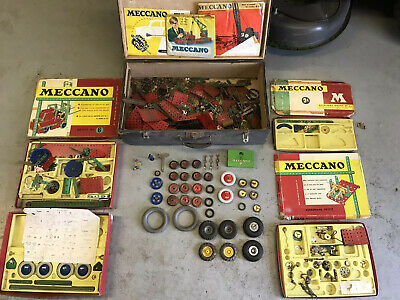 Vintage Meccano Job Lot With Orignal Boxes With 2x Large Dunlop Tyres • 65£