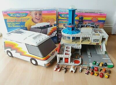 MICRO MACHINES 90s GALOOB Super Van City And Super Auto World Boxed With Cars • 79.95£