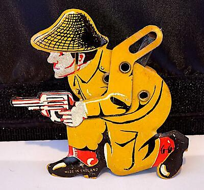 Vintage Tinplate Clicker Toy Of Soldier Firing A Pistol, Made In England • 3.20£