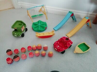 Vintage Weebles Playground Plus Fire Truck Engine, Bus, Boat And 14 Weebles • 18£