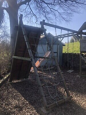 Dunster House Fort Play Area Swings Monkey Bars Climbing Wall Net Slide Tower + • 500£