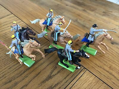 BRITAINS DEETAIL MOUNTED CONFEDERATE 1st SERIES Full Set Six Poses • 30£
